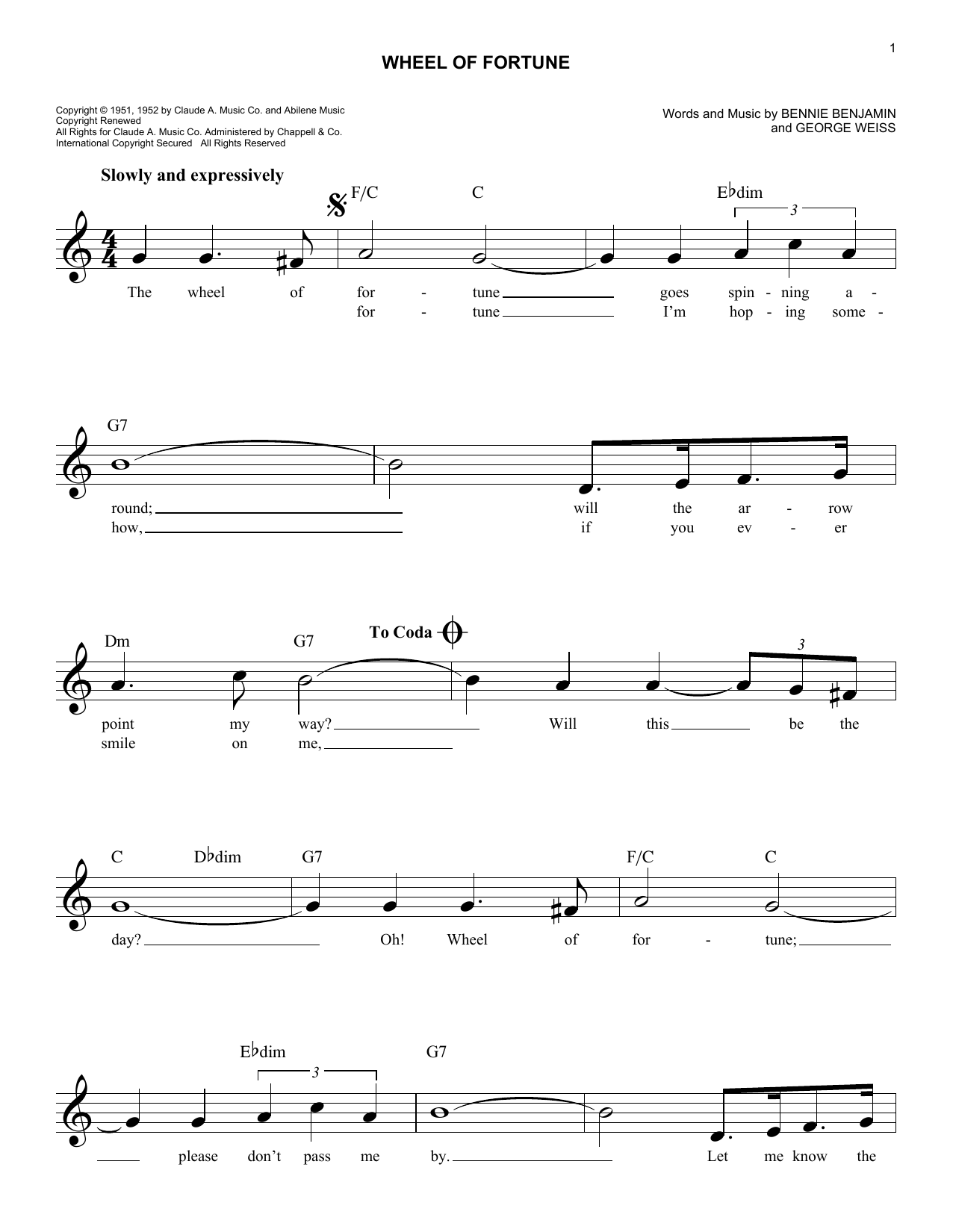 Wheel Of Fortune (Lead Sheet / Fake Book)