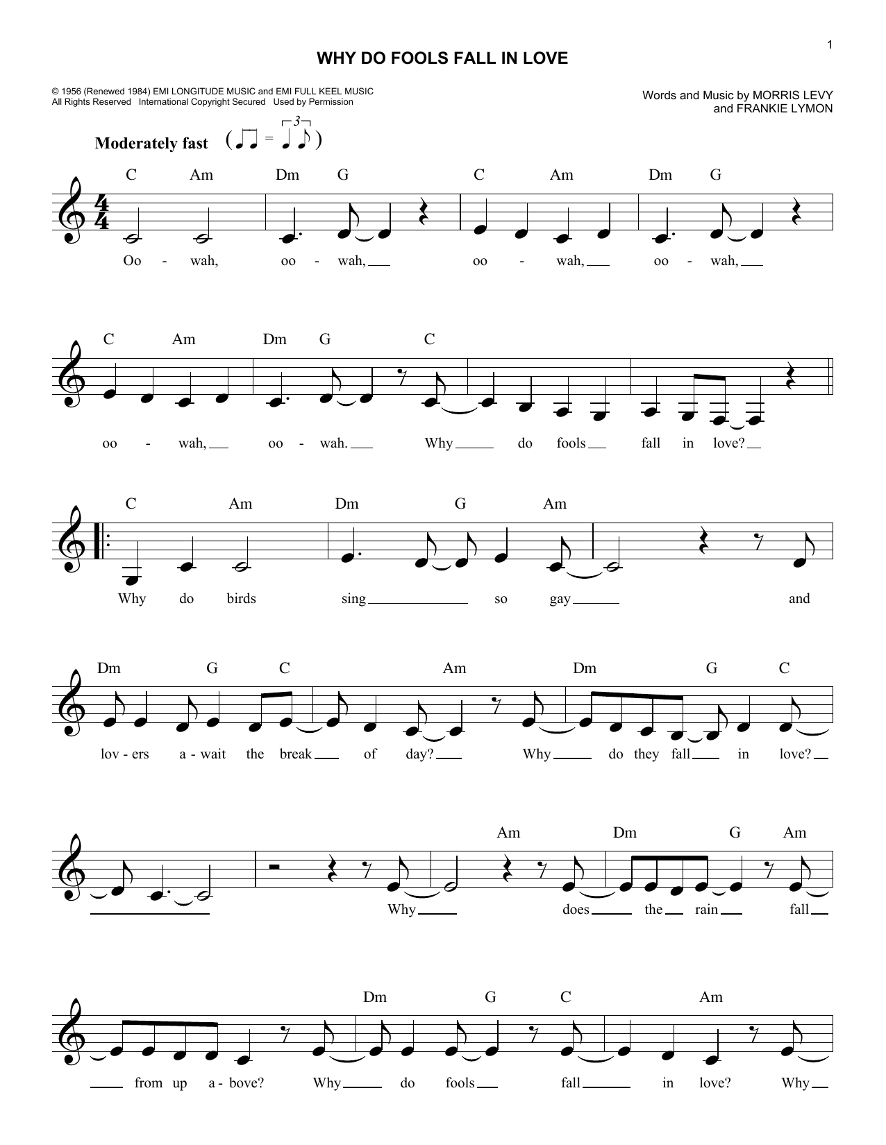 Why Do Fools Fall In Love (Lead Sheet / Fake Book)