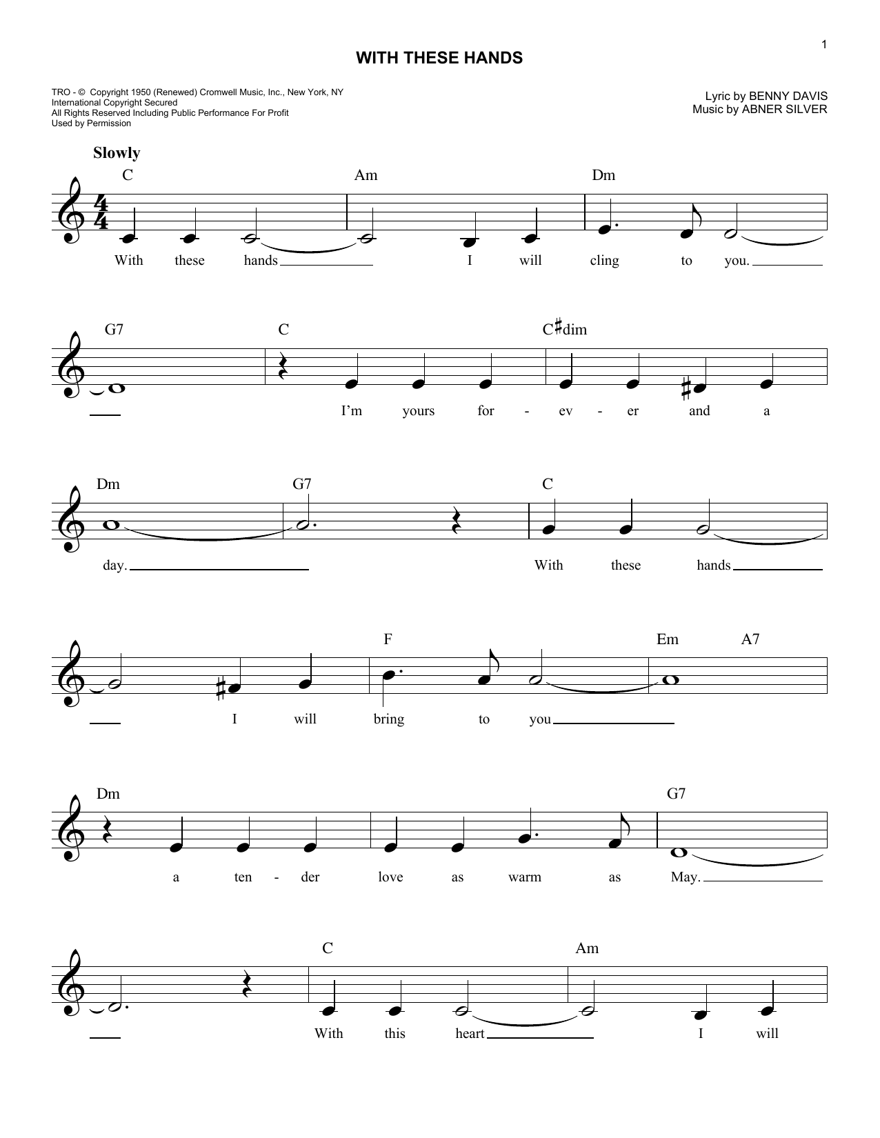 With These Hands Sheet Music
