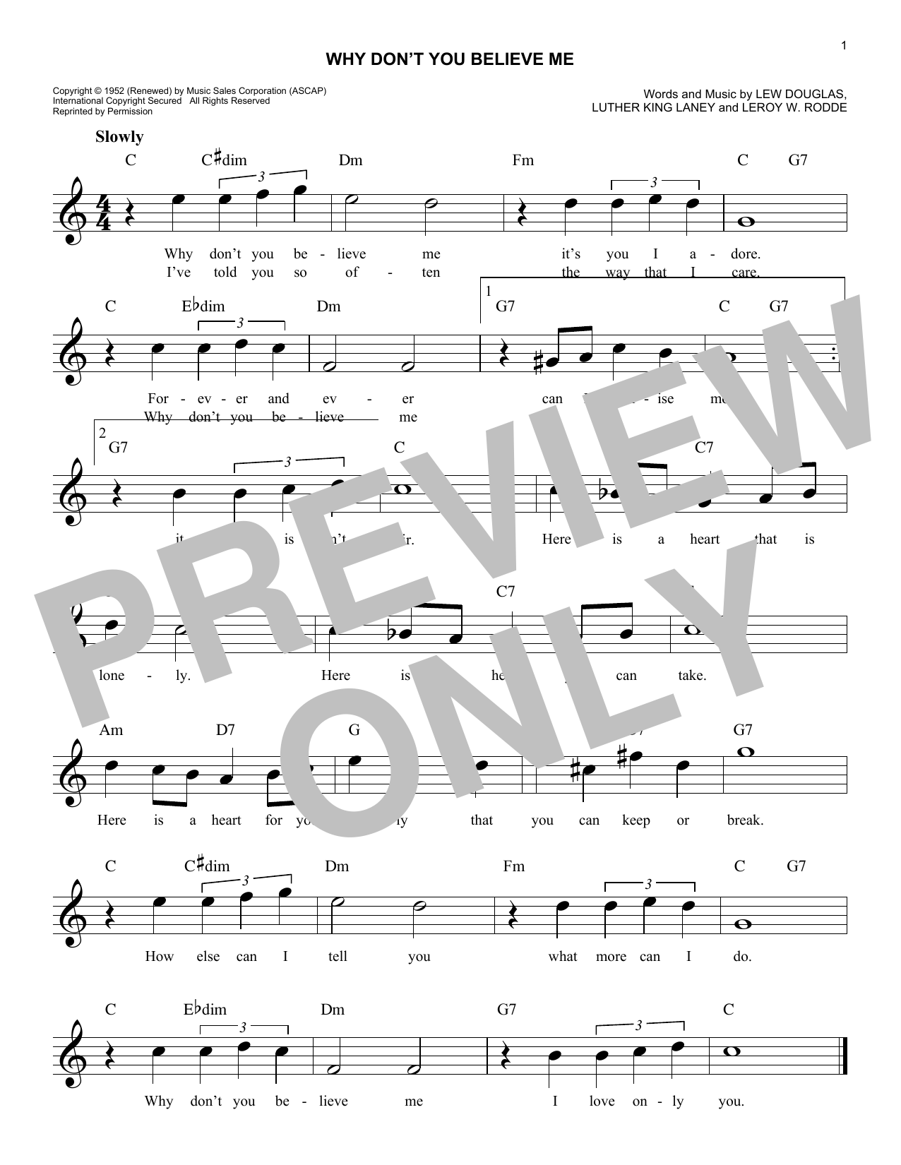 Why Don't You Believe Me Sheet Music