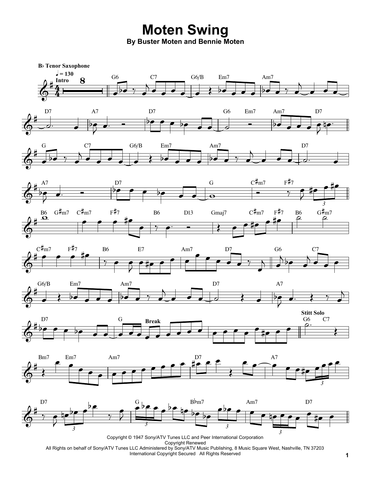 Moten Swing Sheet Music