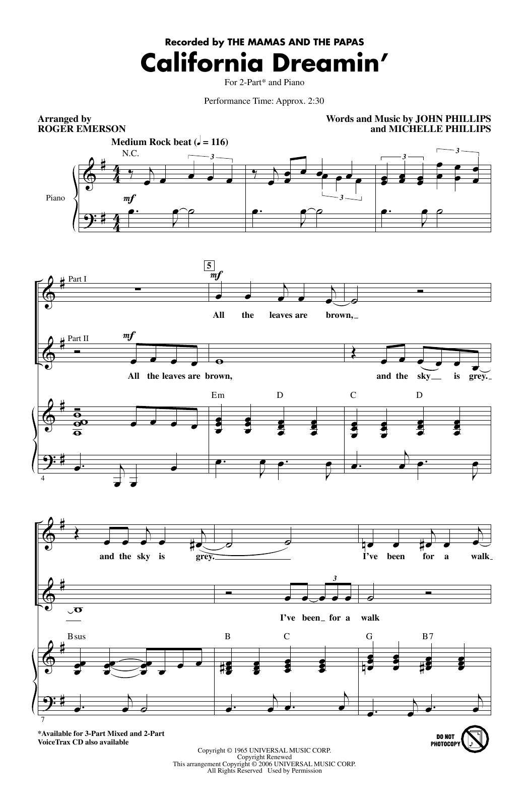 California Dreamin' (arr. Roger Emerson) Sheet Music