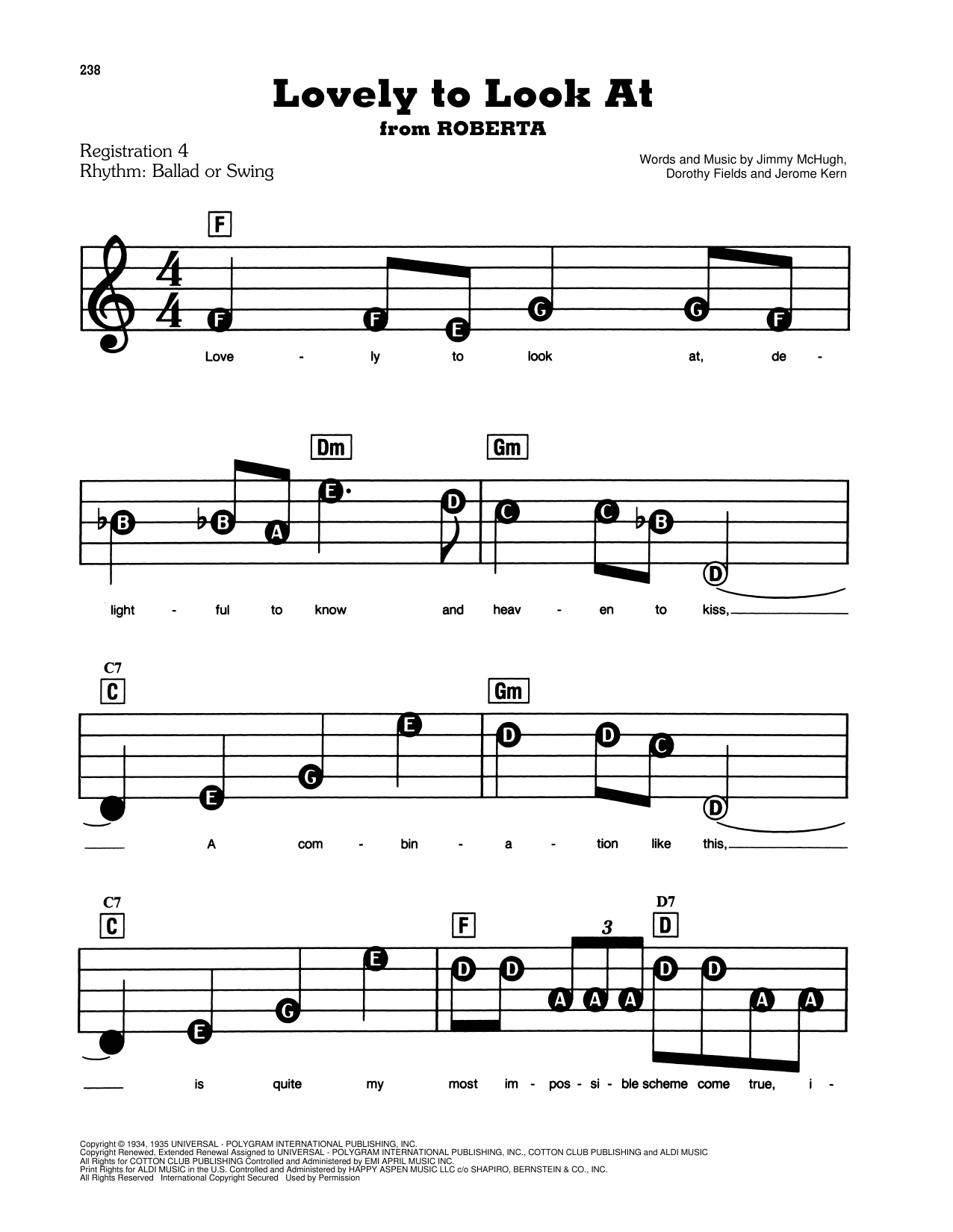 Lovely To Look At (from Roberta) Sheet Music