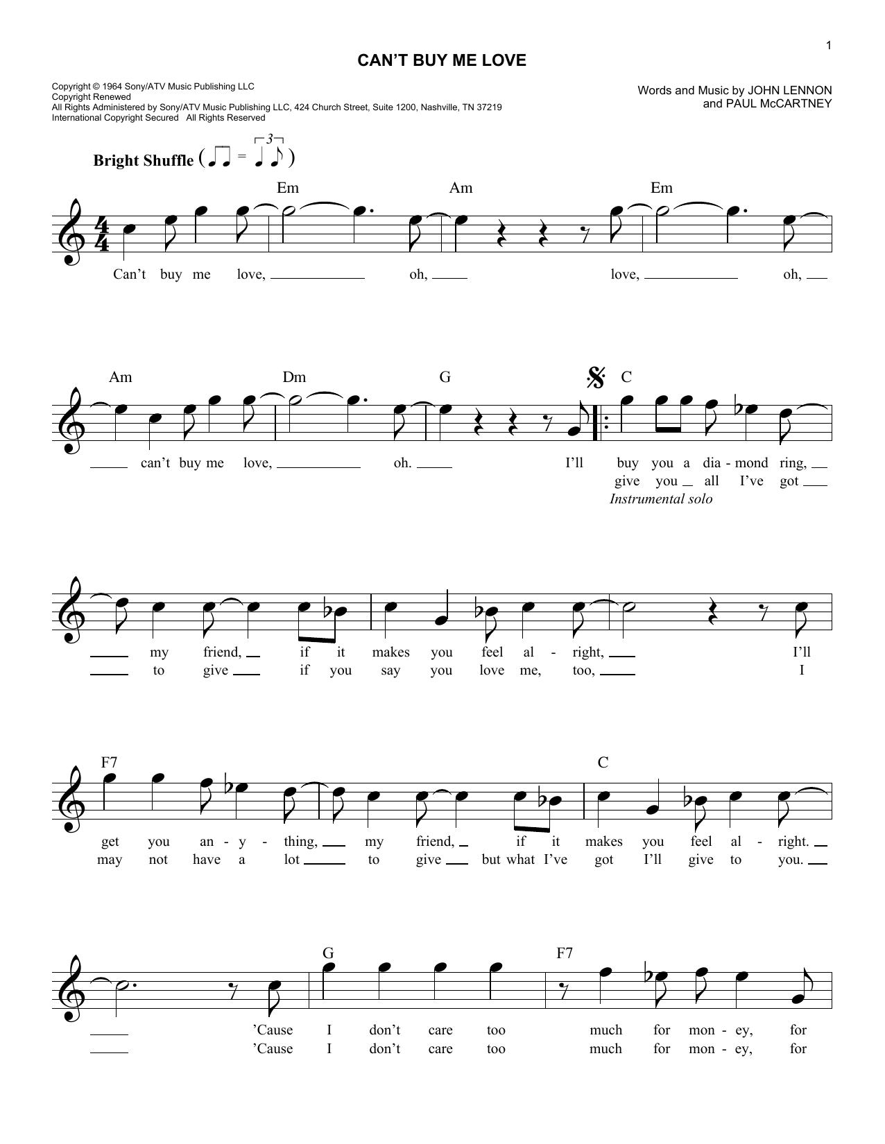 Can't Buy Me Love (Melody Line, Lyrics & Chords)