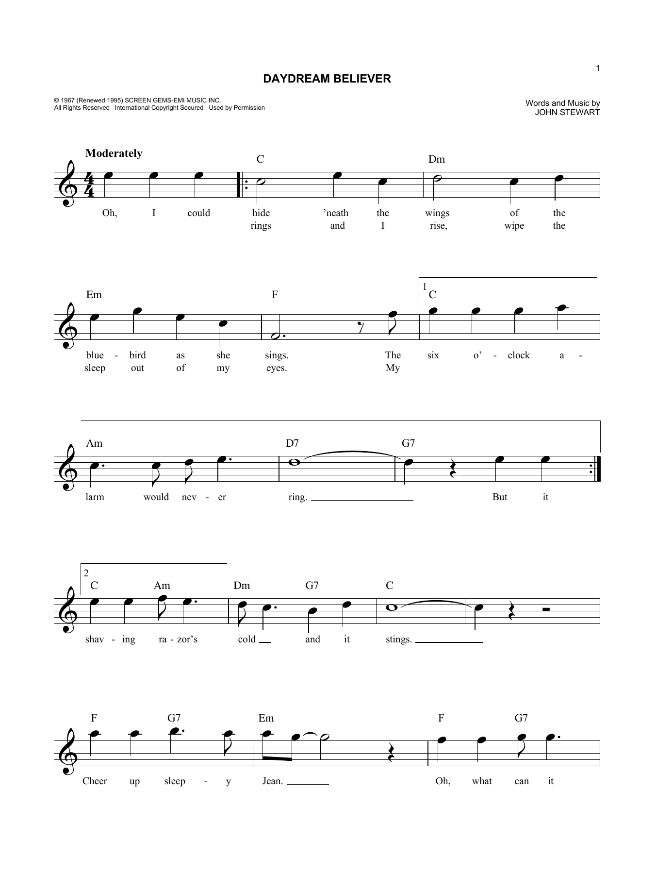 Daydream Believer (Lead Sheet / Fake Book)