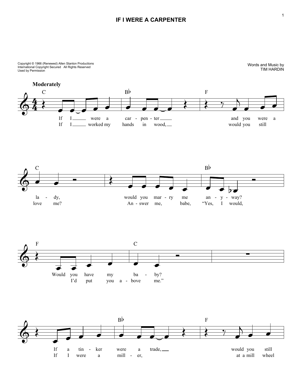 If I Were A Carpenter (Lead Sheet / Fake Book)