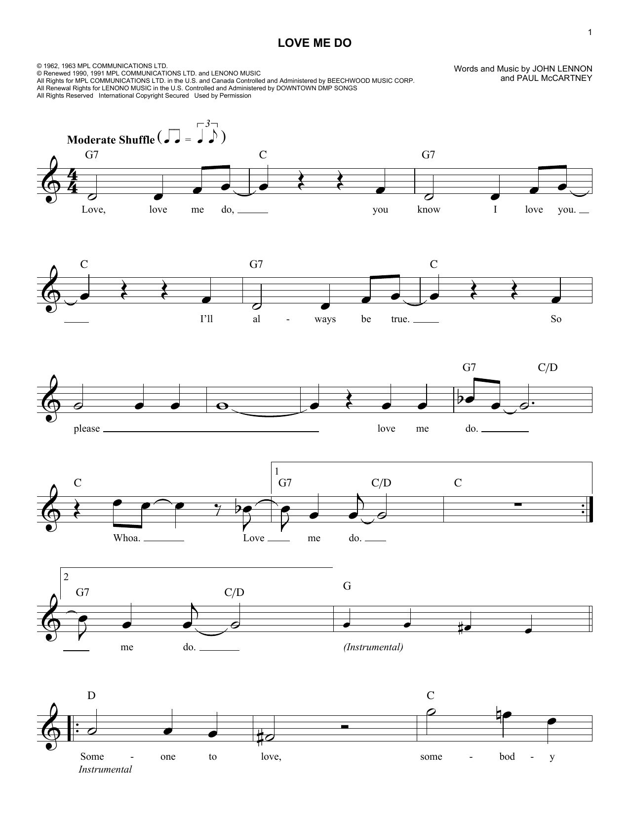 de4c2d50b471 Love Me Do by The Beatles Piano, Vocal & Guitar (Right-Hand Melody) Digital  Sheet Music