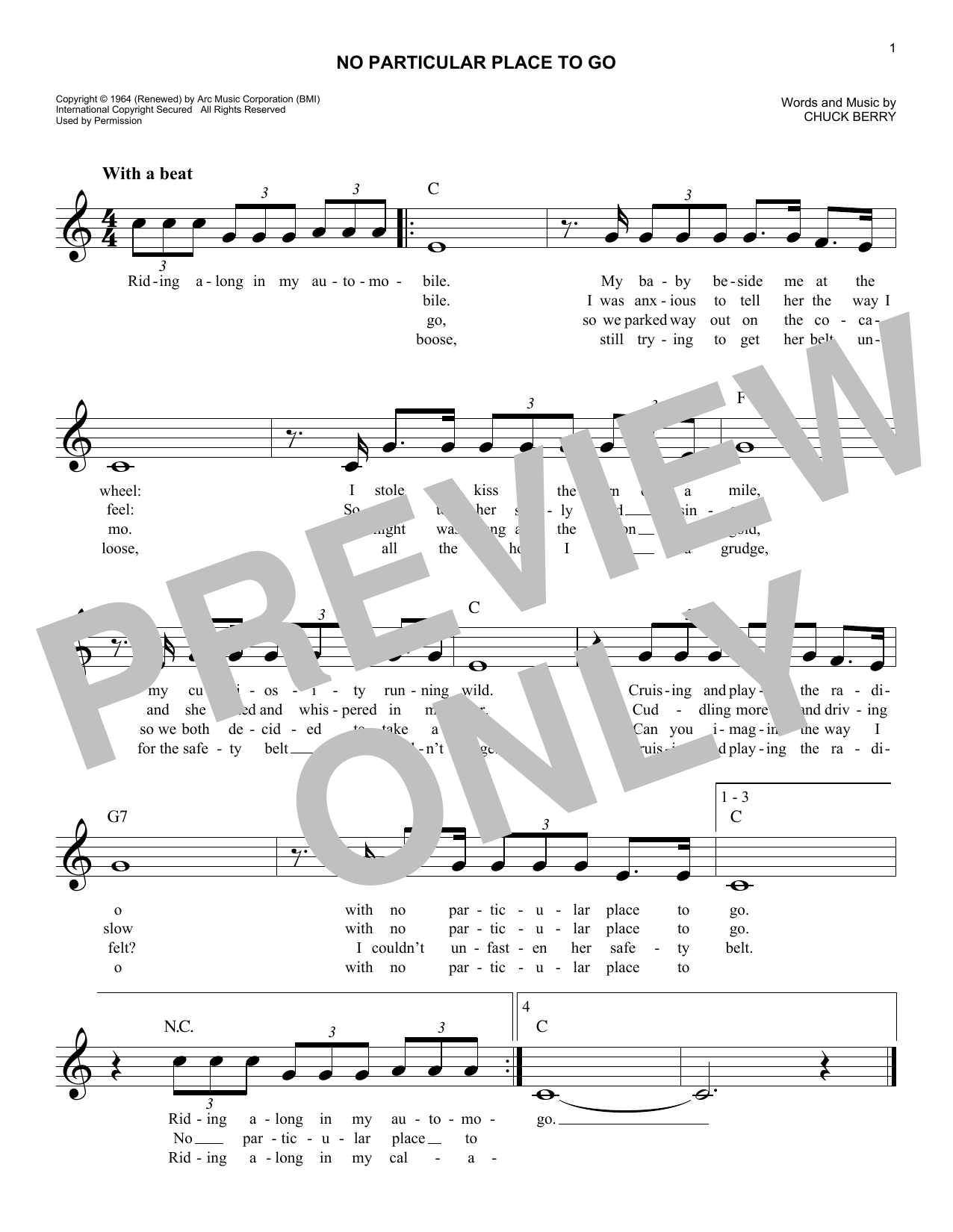 No Particular Place To Go (Lead Sheet / Fake Book)