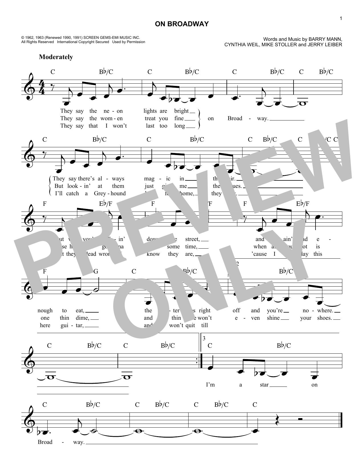 On Broadway (Melody Line, Lyrics & Chords)
