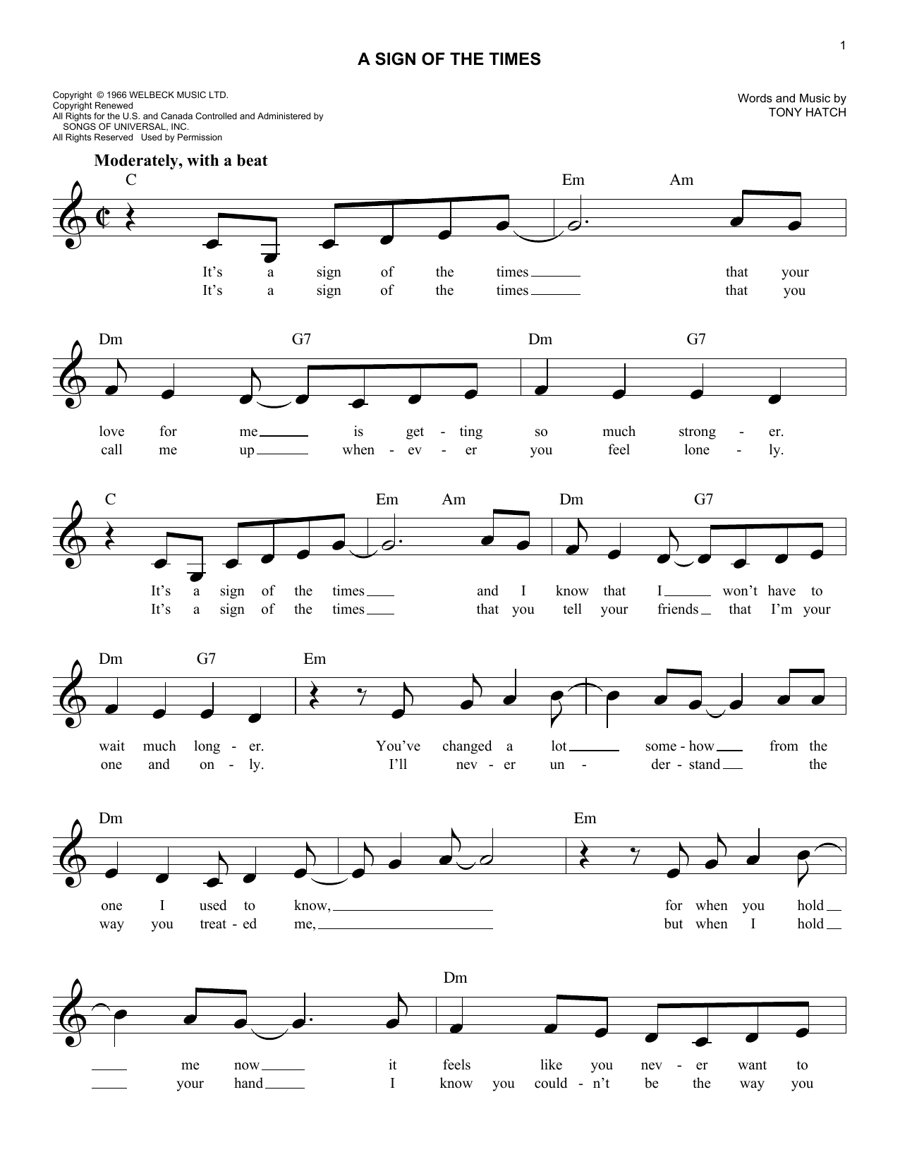 A Sign Of The Times (Lead Sheet / Fake Book)