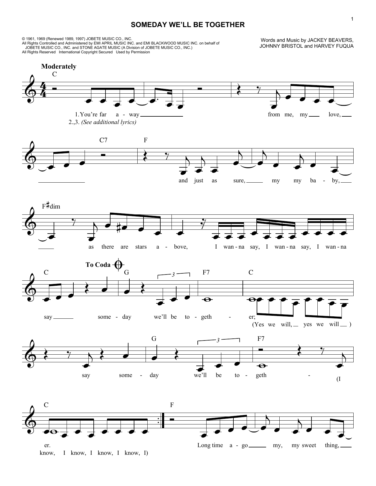Someday We'll Be Together (Lead Sheet / Fake Book)