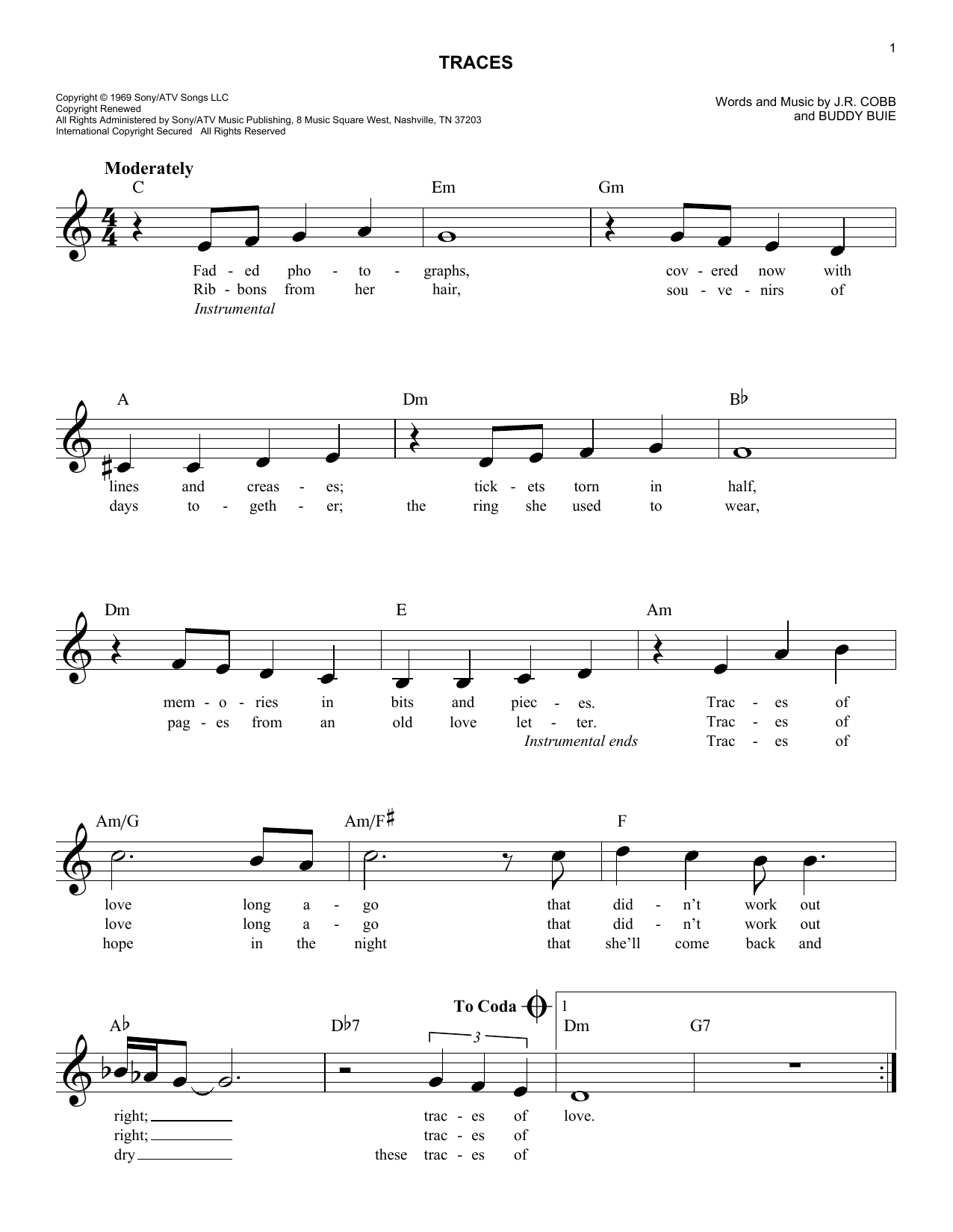 Traces Sheet Music
