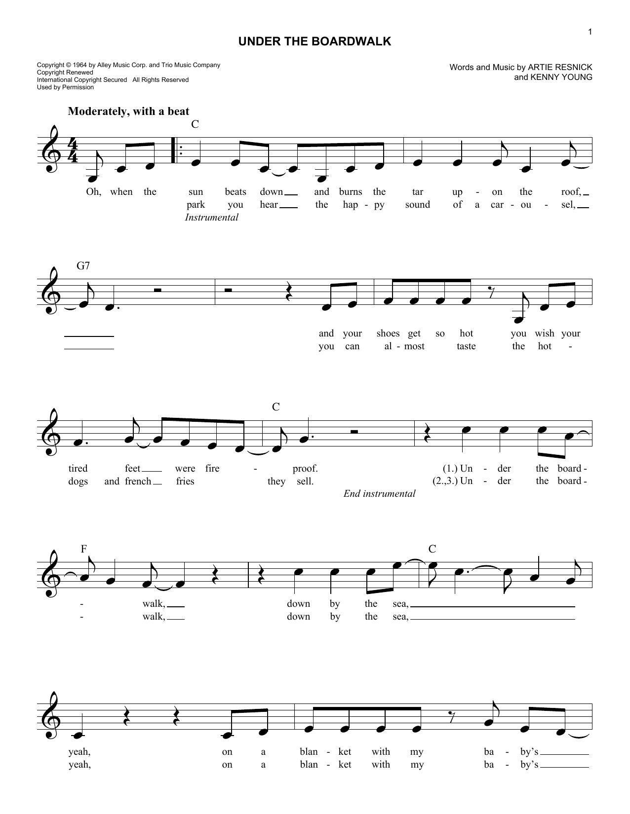 Under The Boardwalk (Lead Sheet / Fake Book)