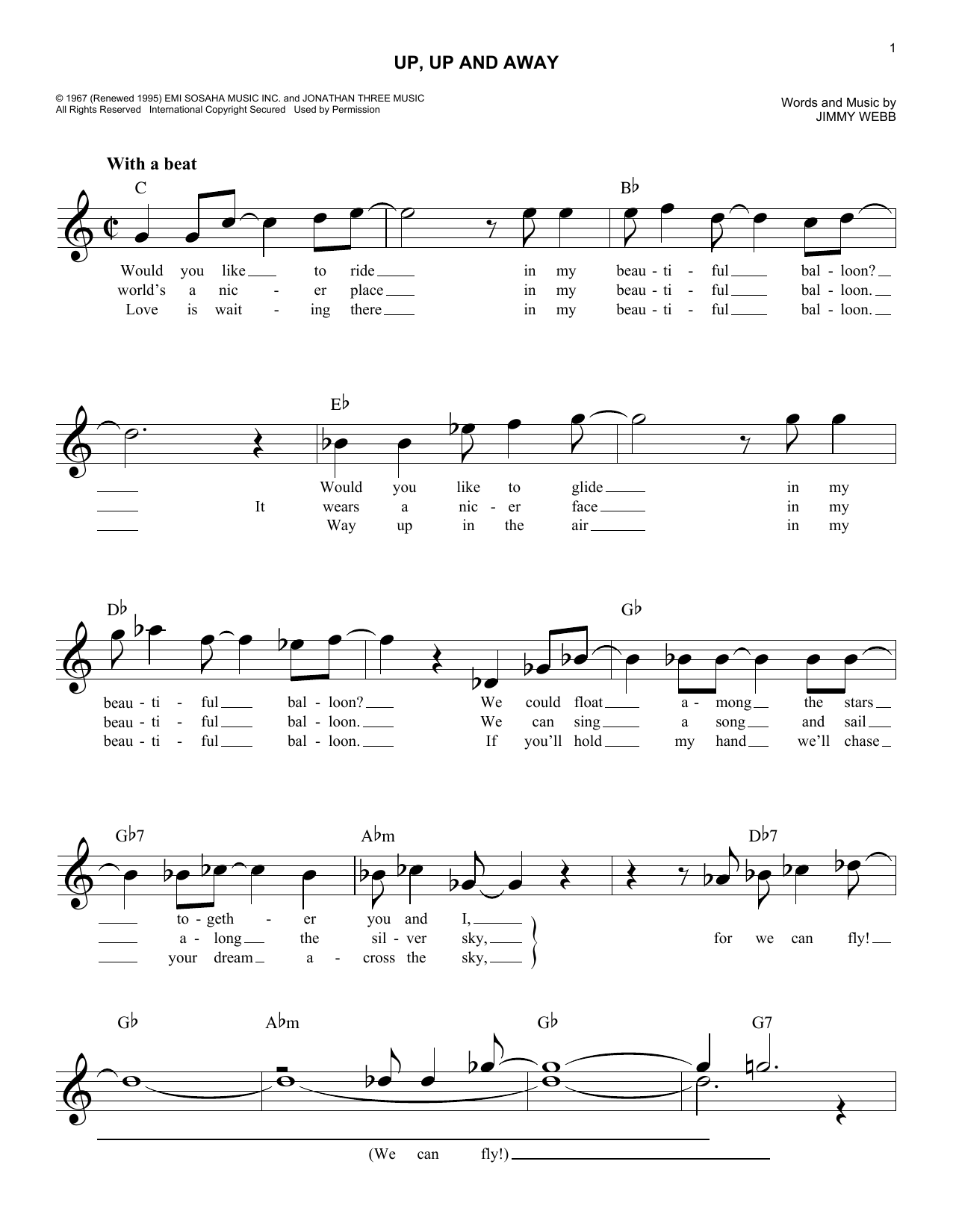 Up, Up And Away (Lead Sheet / Fake Book)