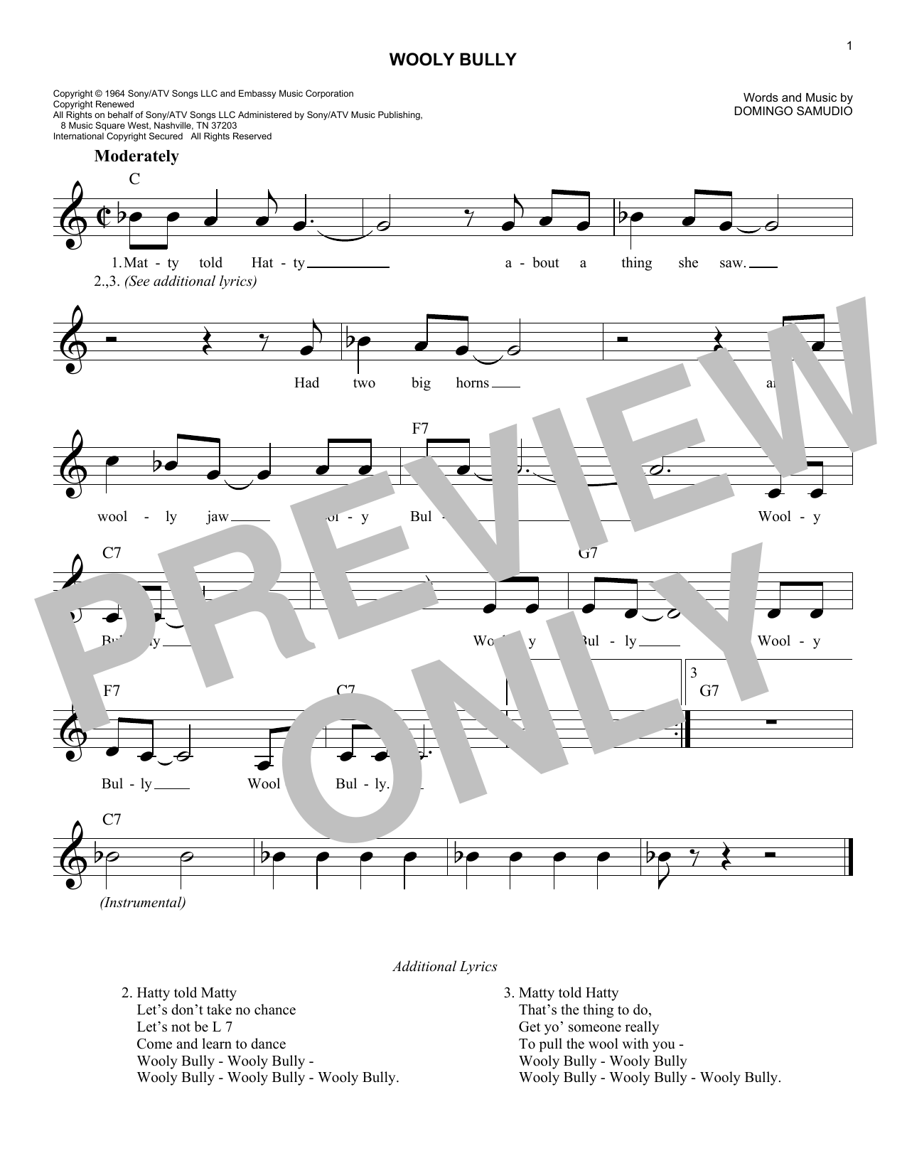 Wooly Bully (Lead Sheet / Fake Book)