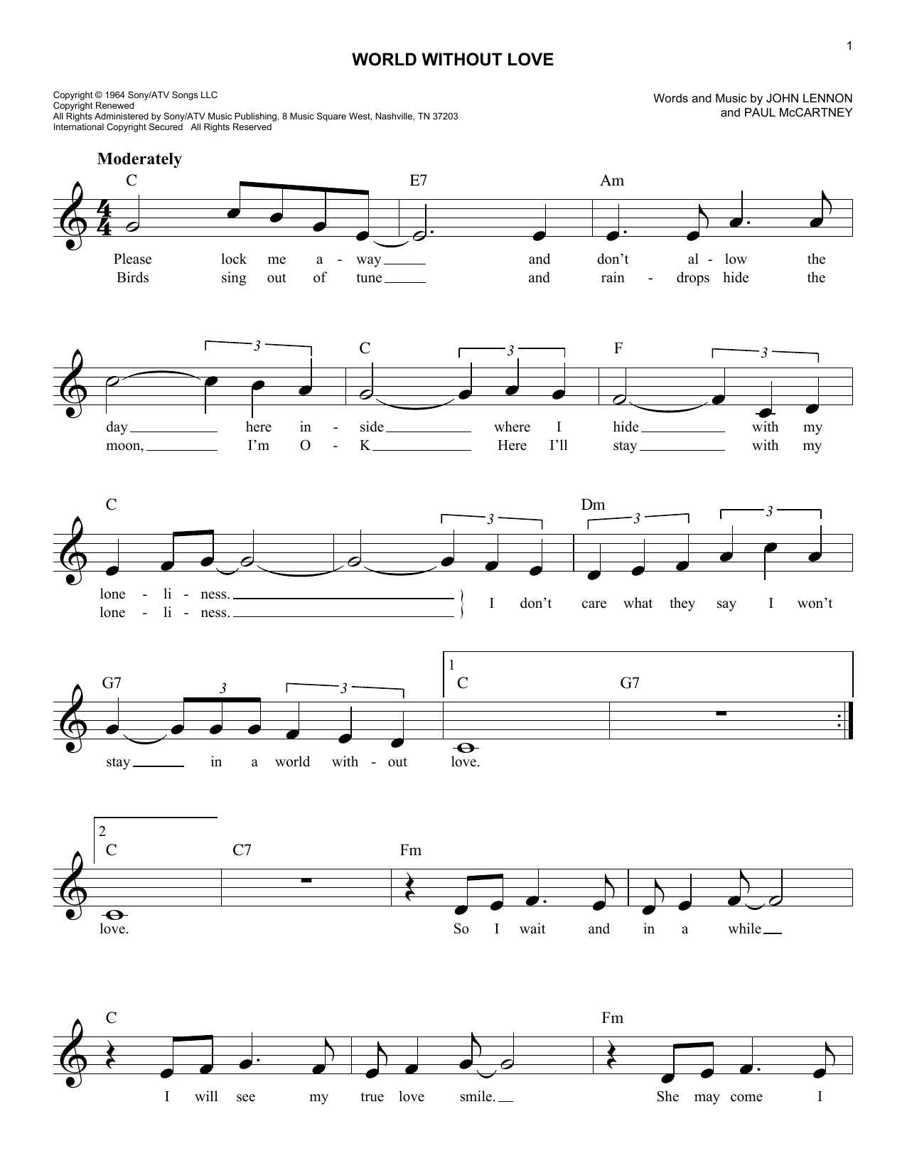 World Without Love (Lead Sheet / Fake Book)