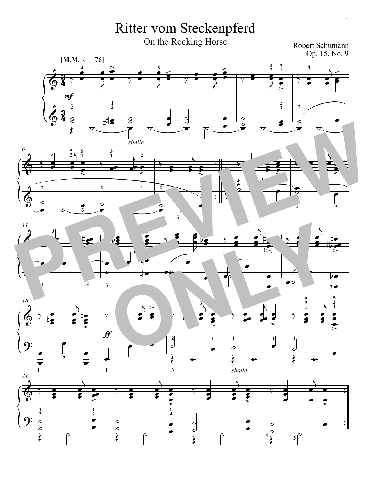 The Knight Of The Rocking-Horse, Op. 15, No. 9 Sheet Music