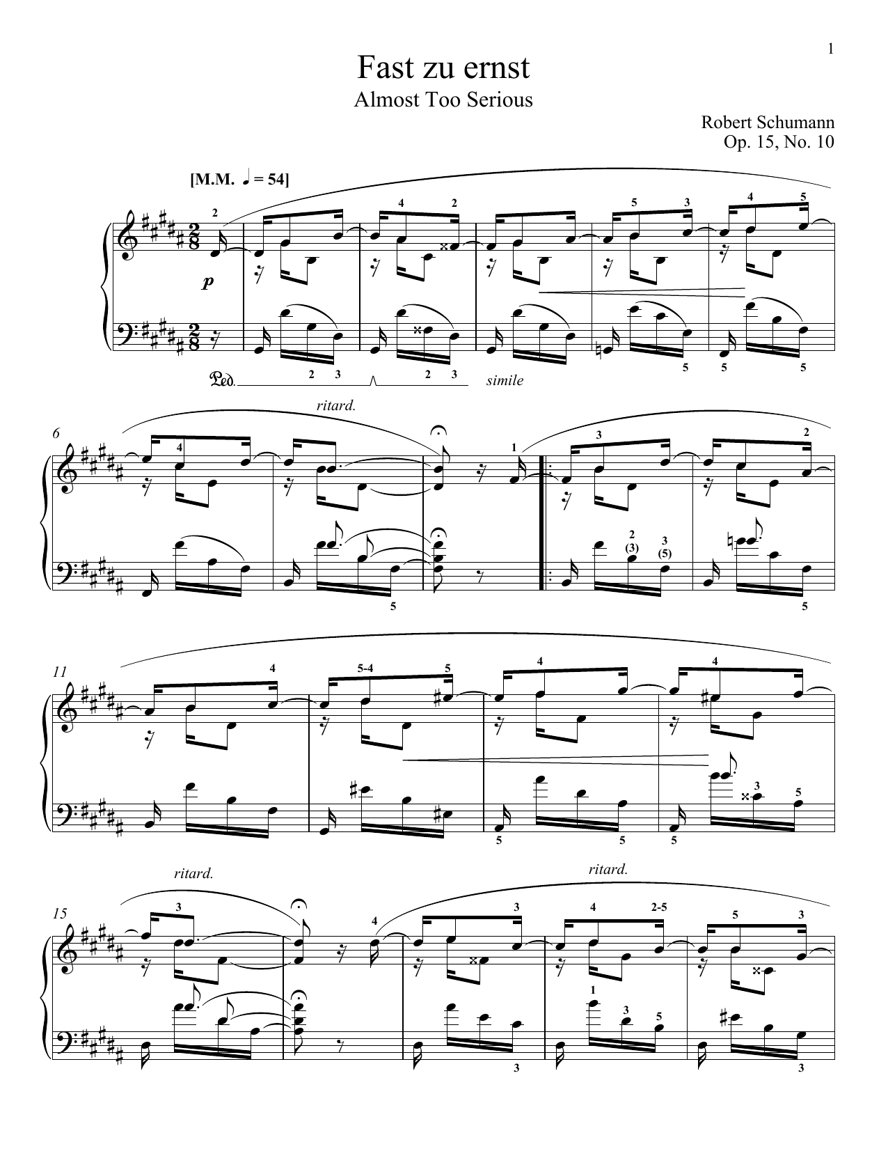 Almost Too Serious, Op. 15, No. 10 (Piano Solo)