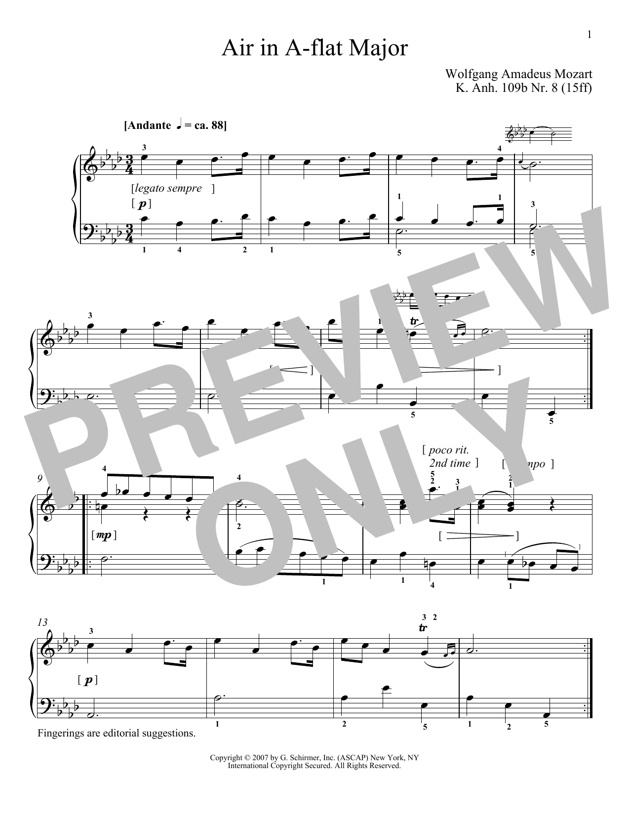 Air In A-Flat Major, K109b, No. 8 Sheet Music