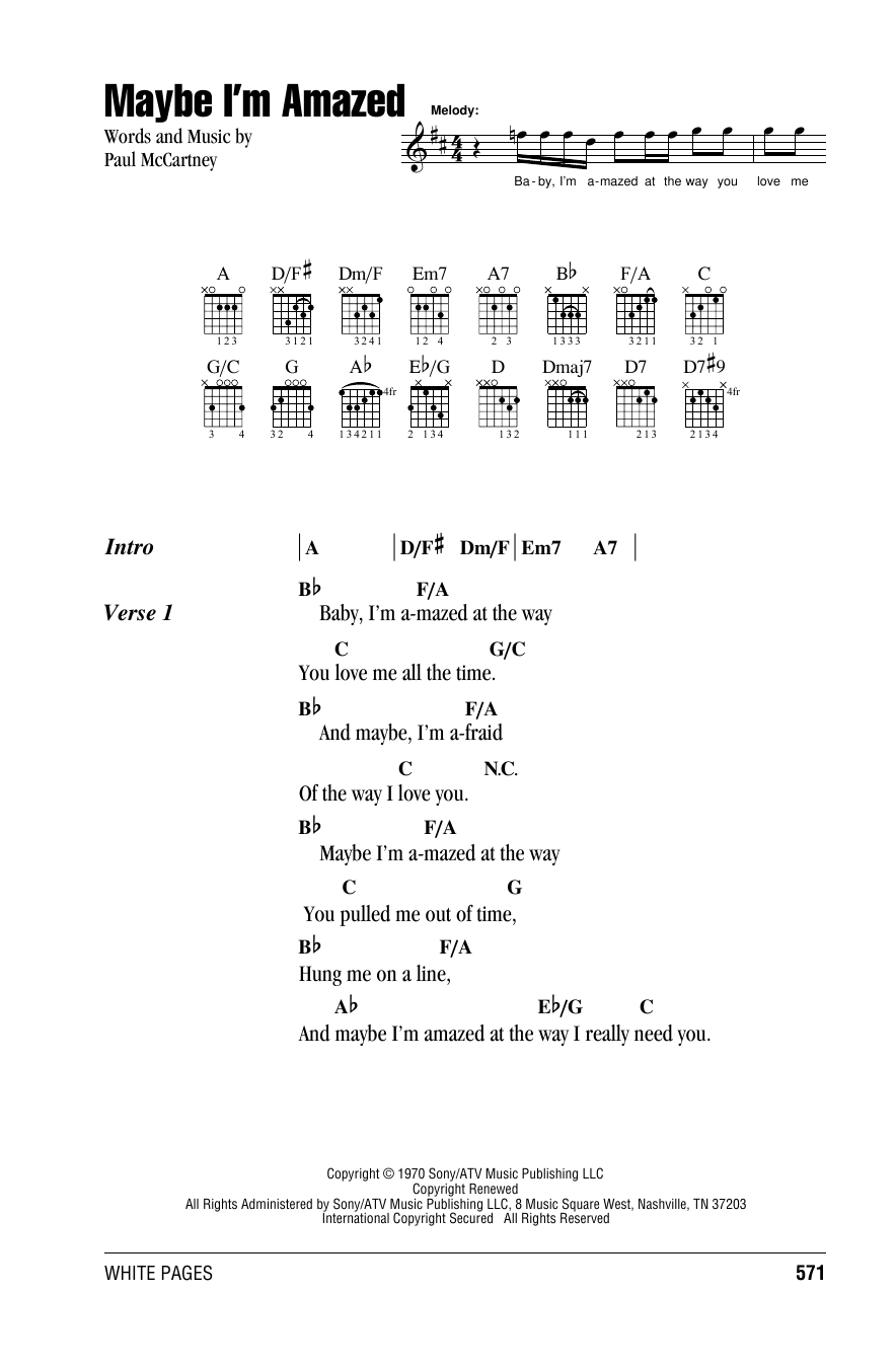 Maybe I'm Amazed by Paul McCartney Piano, Vocal & Guitar (Right-Hand  Melody) Digital Sheet Music