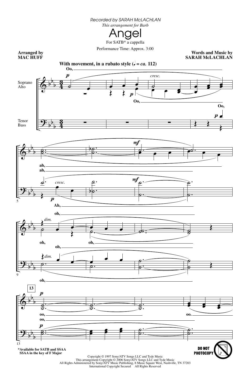 Angel (arr. Mac Huff) (SATB Choir)