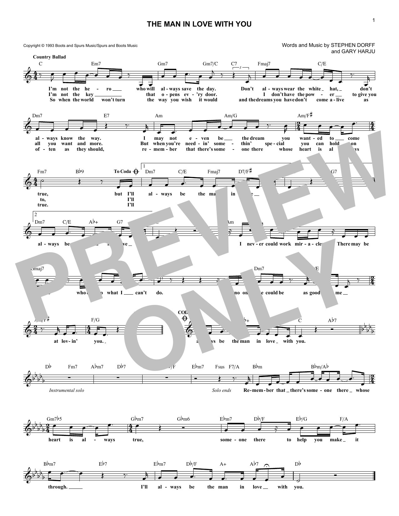 The Man In Love With You Sheet Music