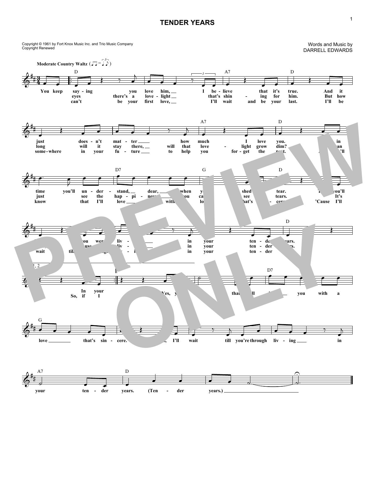 Tender Years Sheet Music
