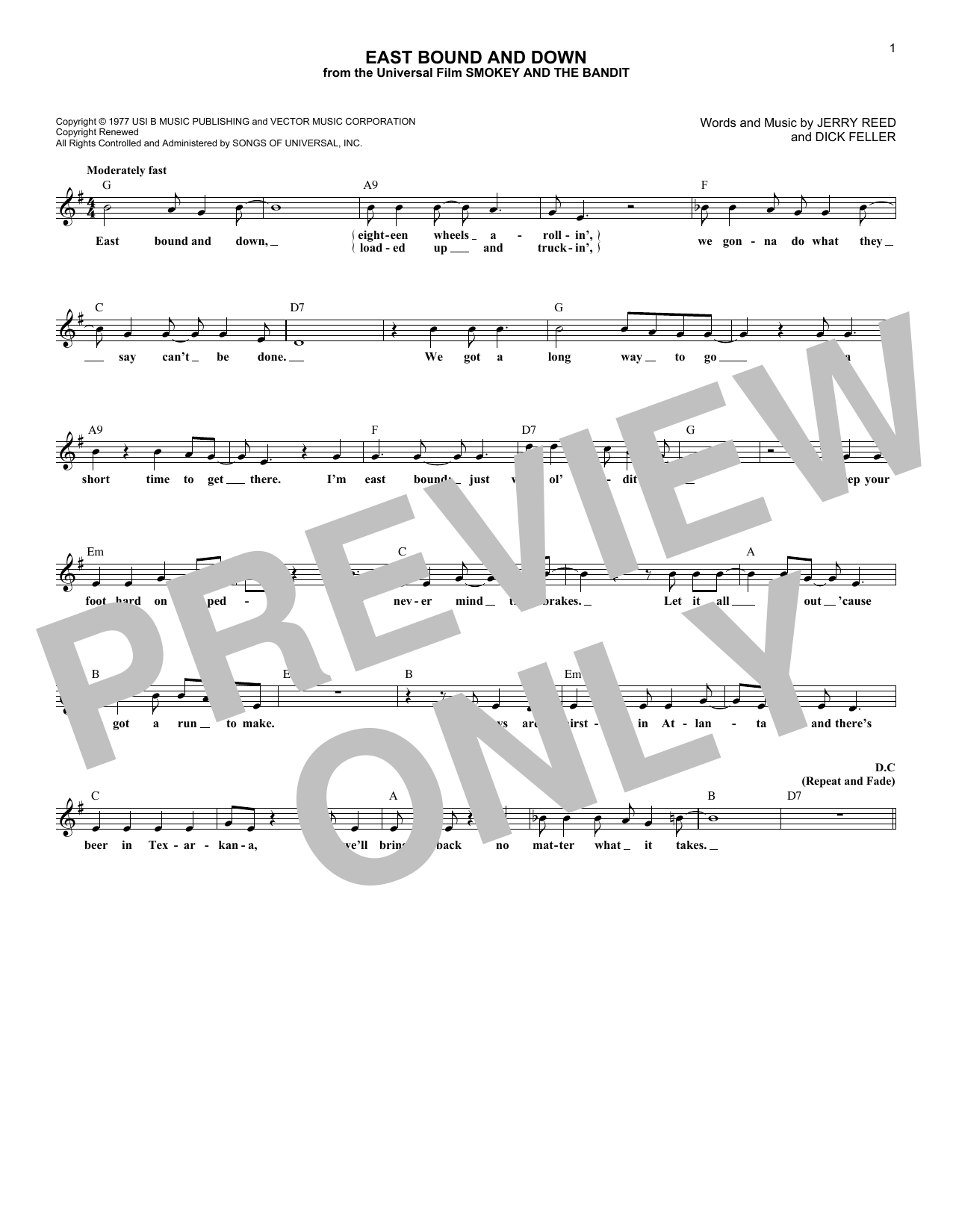East Bound And Down (Lead Sheet / Fake Book)