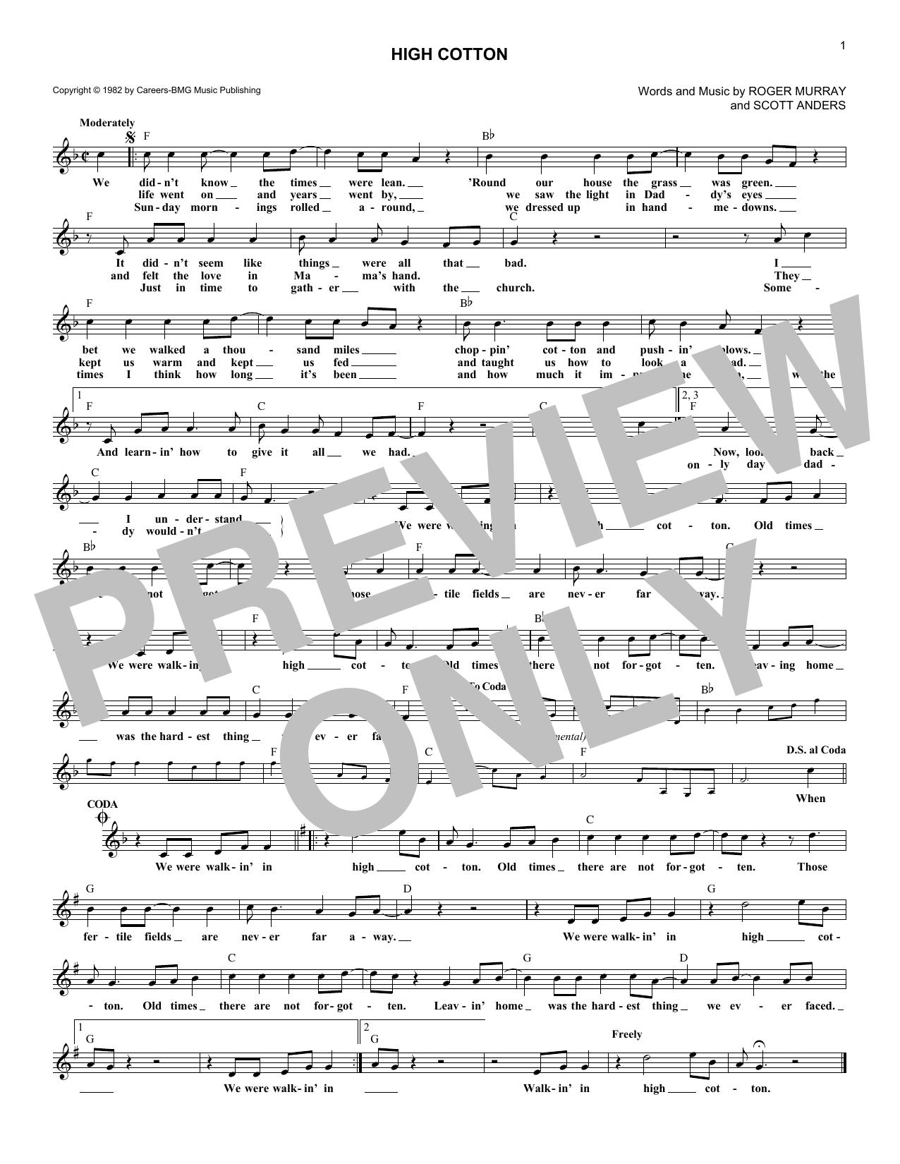 High Cotton (Lead Sheet / Fake Book)