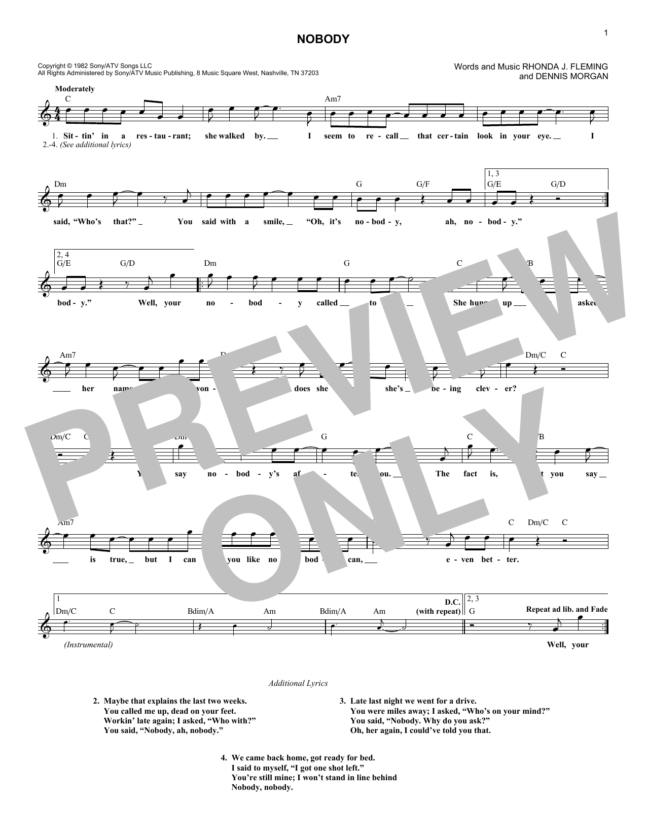 Nobody (Lead Sheet / Fake Book)
