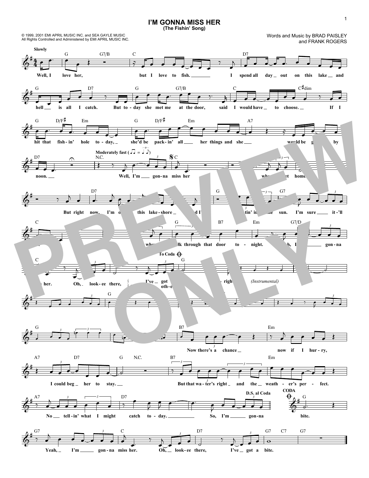 I'm Gonna Miss Her (The Fishin' Song) (Lead Sheet / Fake Book)
