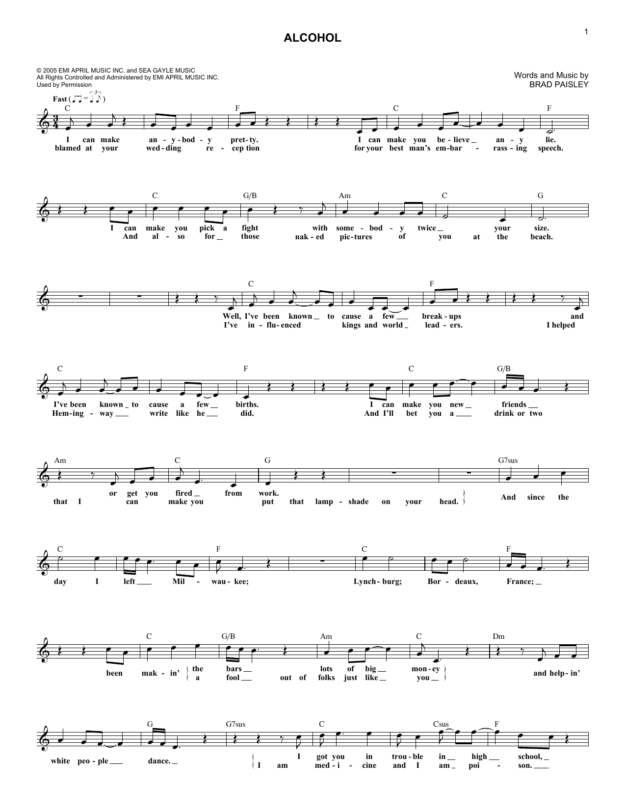 Alcohol (Lead Sheet / Fake Book)