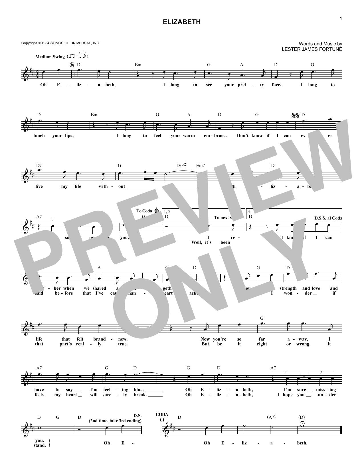 Elizabeth Sheet Music