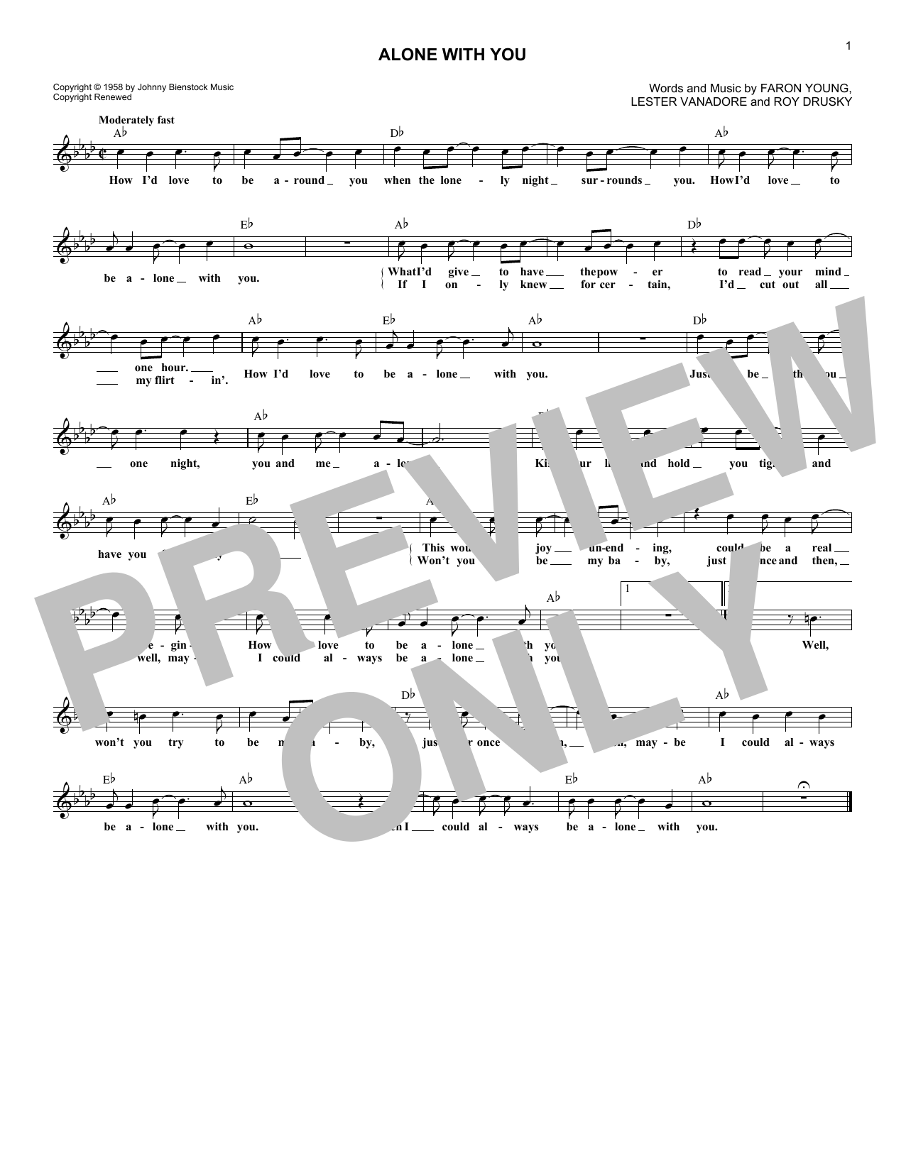 Alone With You (Lead Sheet / Fake Book)