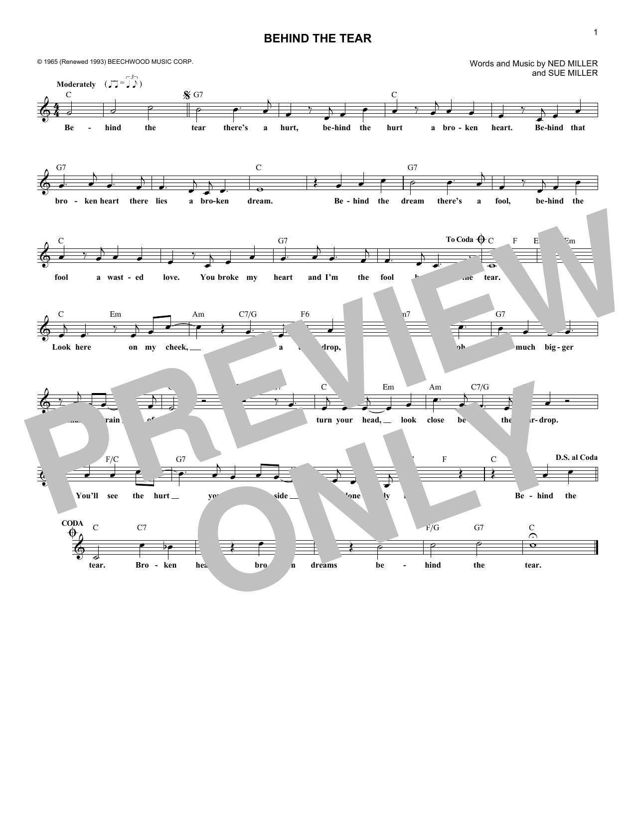 Behind The Tear (Lead Sheet / Fake Book)