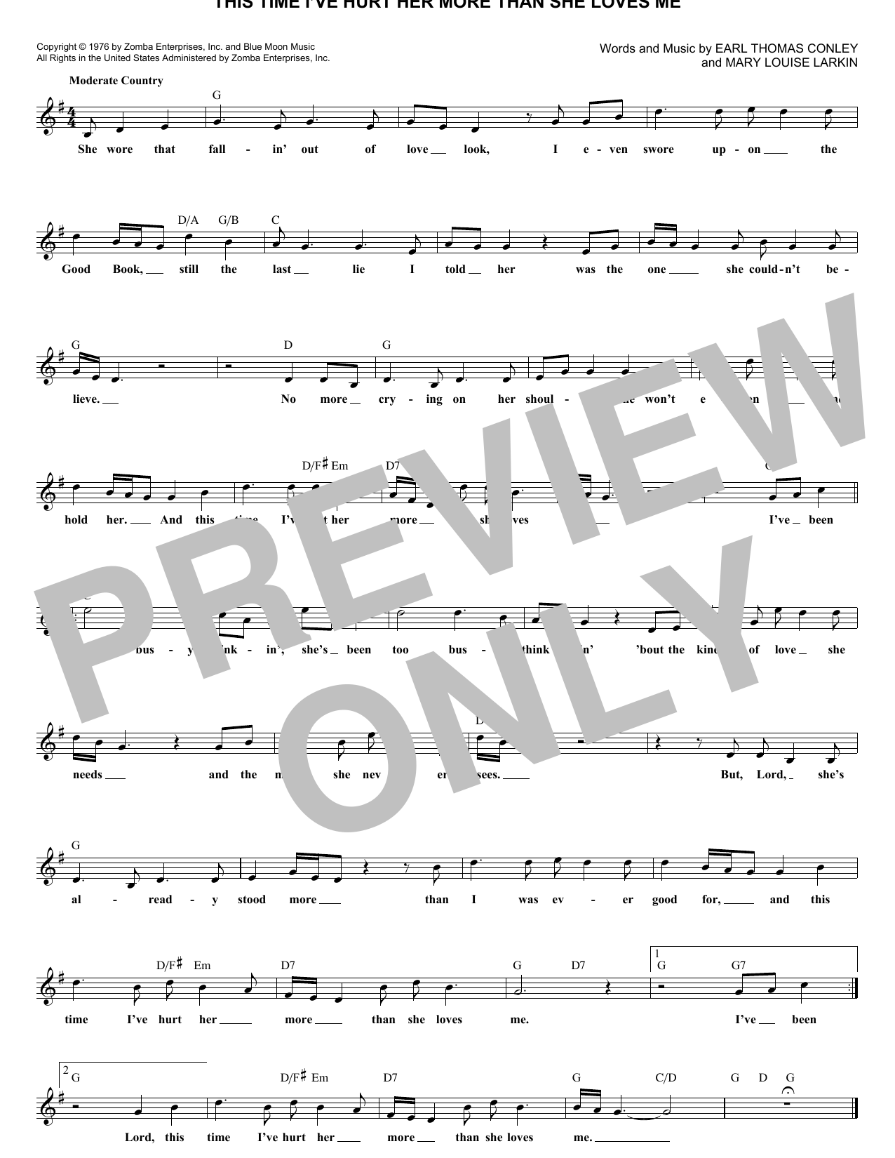 This Time I've Hurt Her More Than She Loves Me (Lead Sheet / Fake Book)