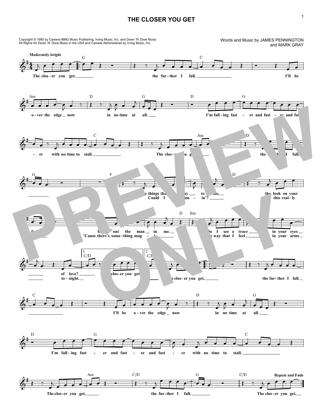 The Closer You Get (Lead Sheet / Fake Book)