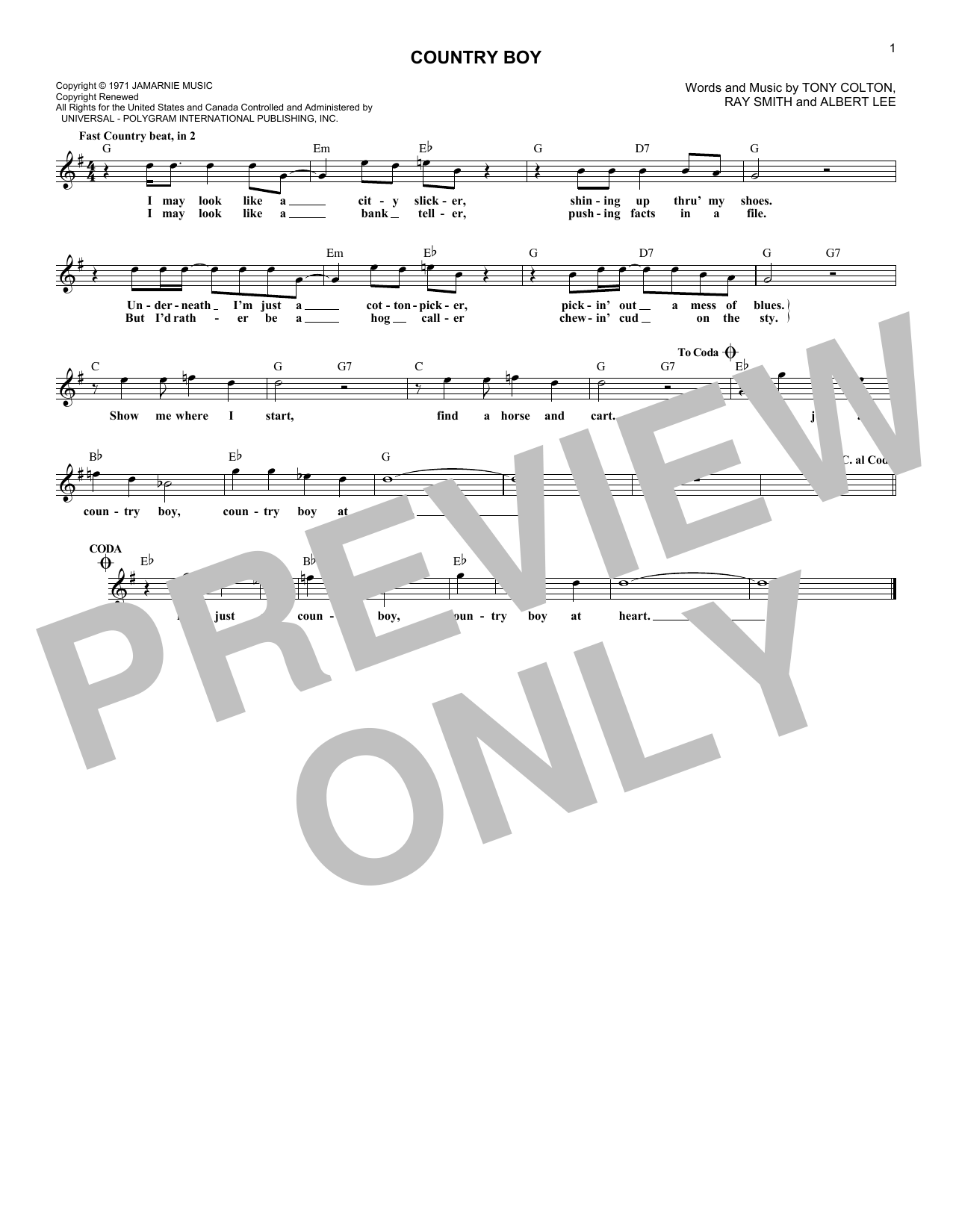 Country Boy (Lead Sheet / Fake Book)