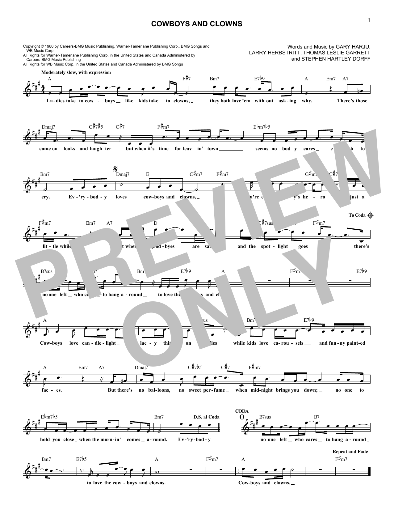 Cowboys And Clowns (Lead Sheet / Fake Book)