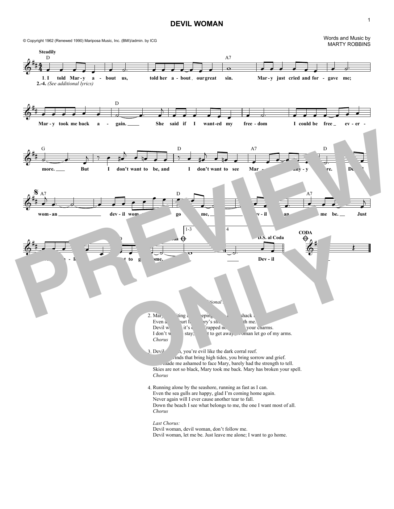 Devil Woman (Lead Sheet / Fake Book)