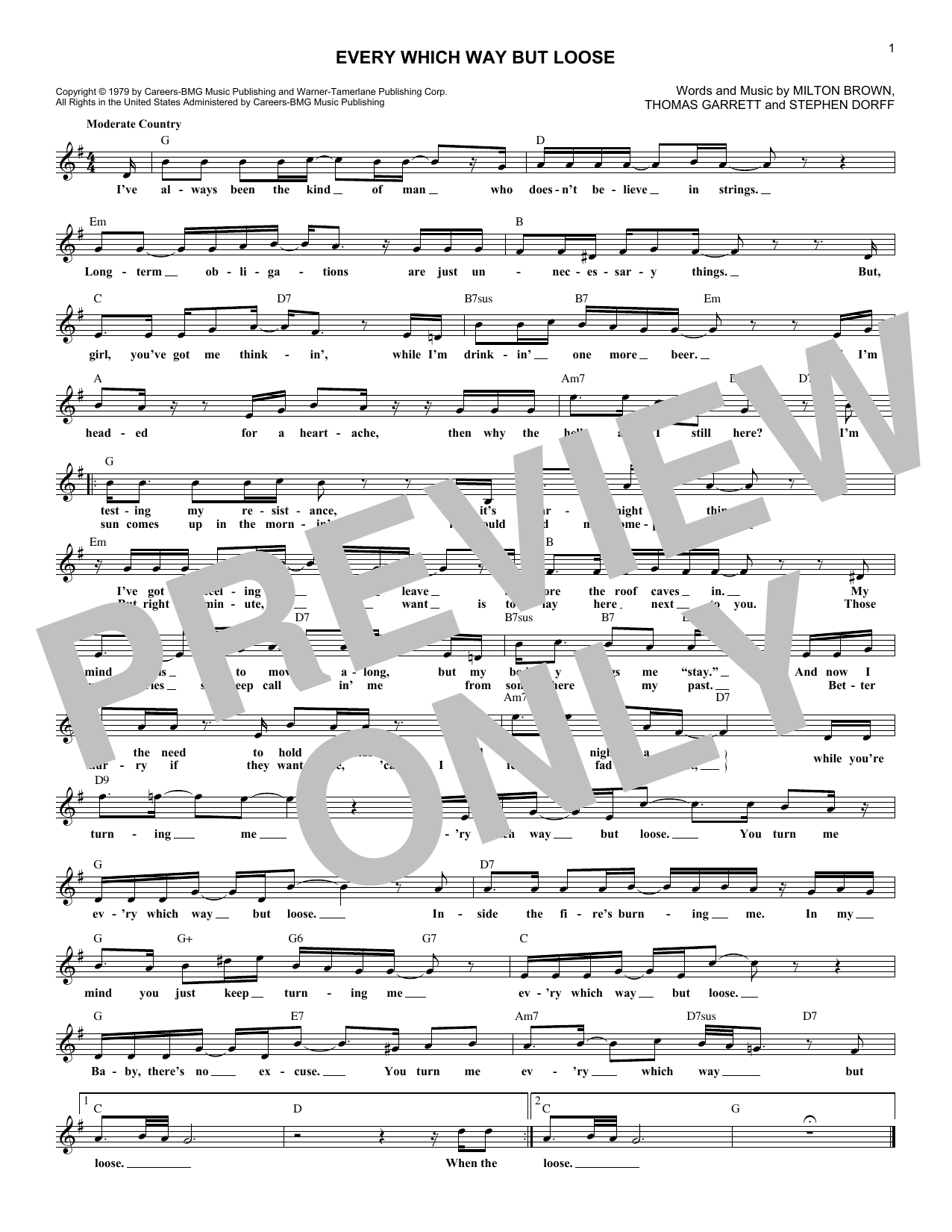 Every Which Way But Loose (Lead Sheet / Fake Book)