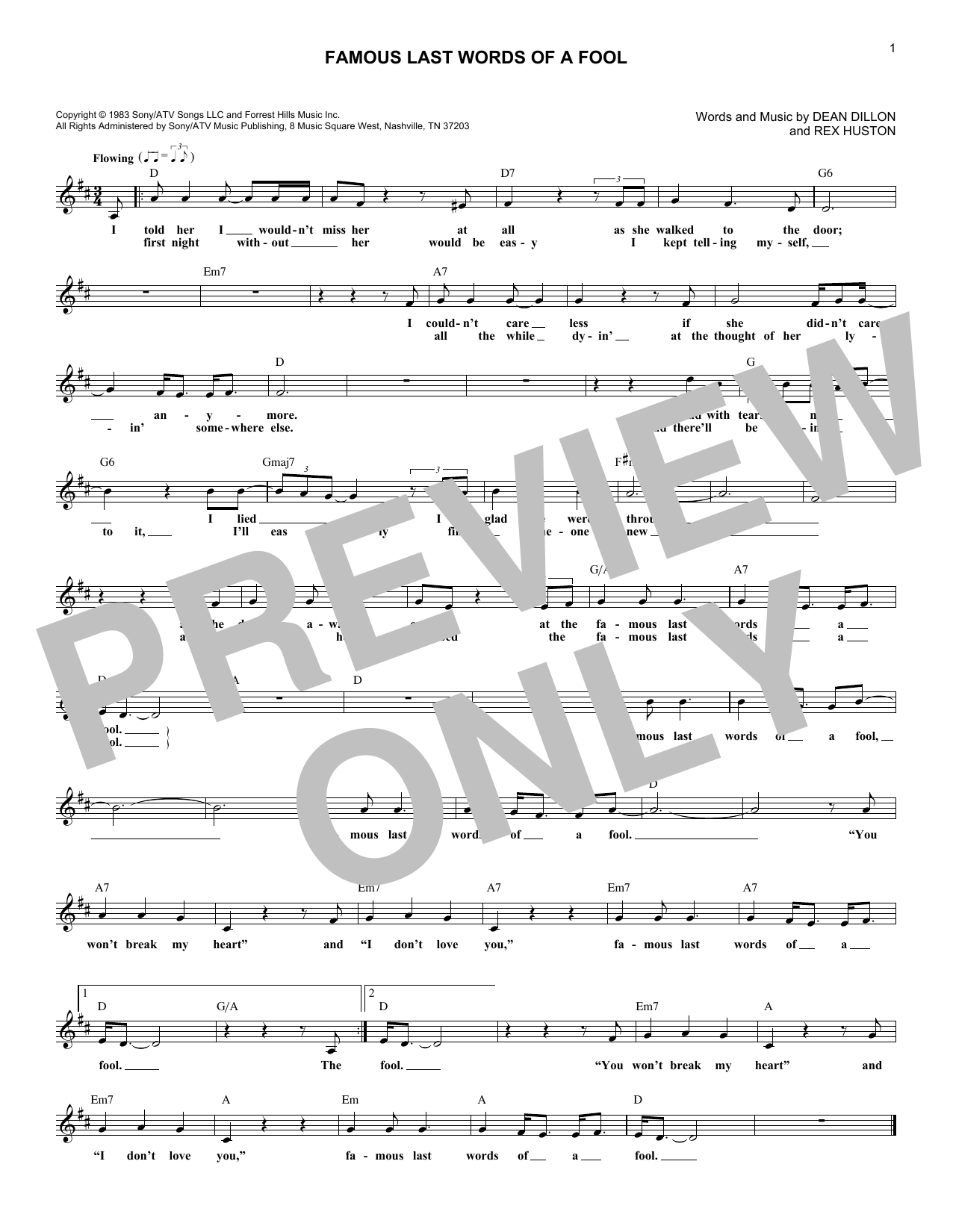 Famous Last Words Of A Fool (Lead Sheet / Fake Book)