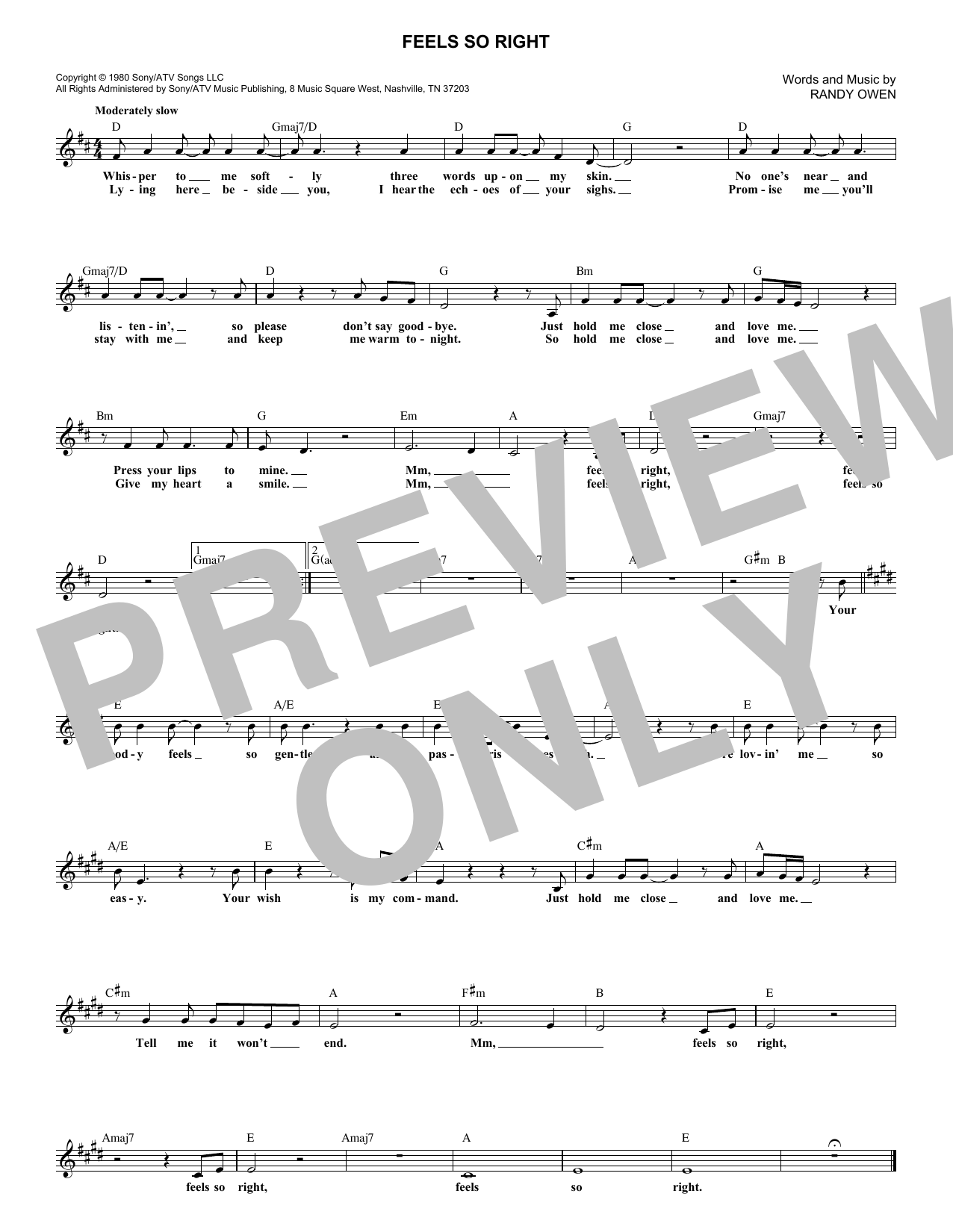 Feels So Right (Lead Sheet / Fake Book)
