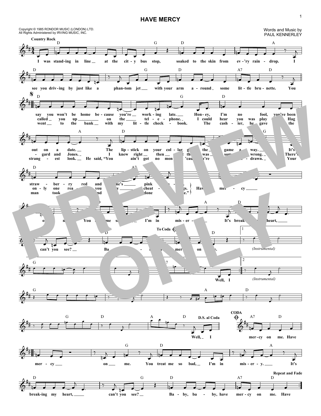 Have Mercy (Lead Sheet / Fake Book)