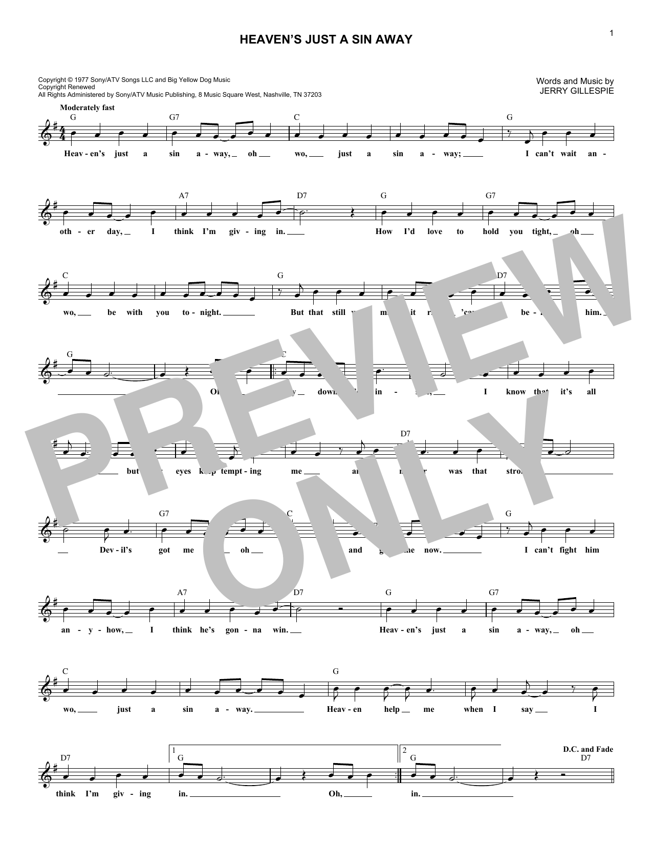 Heaven's Just A Sin Away (Lead Sheet / Fake Book)
