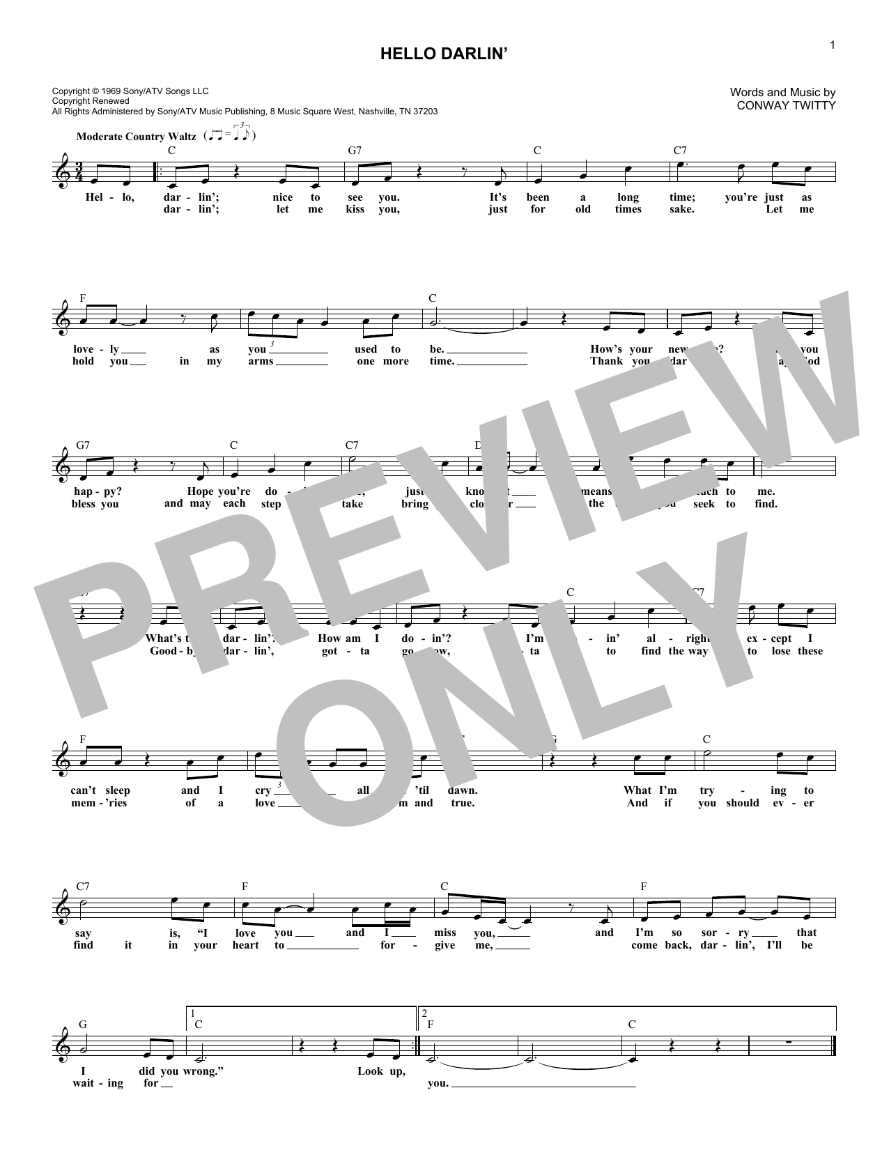 Hello Darlin' (Lead Sheet / Fake Book)