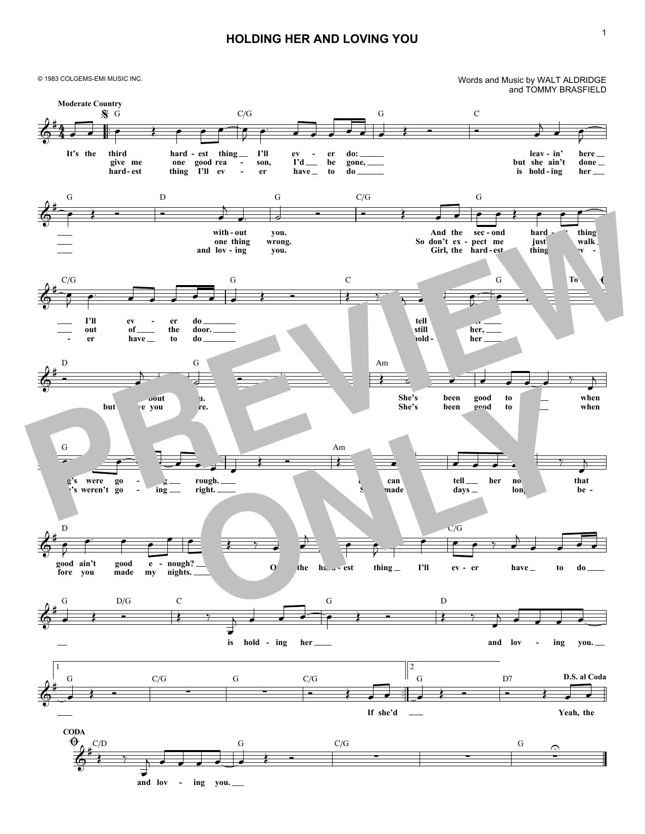 Holding Her And Loving You (Lead Sheet / Fake Book)