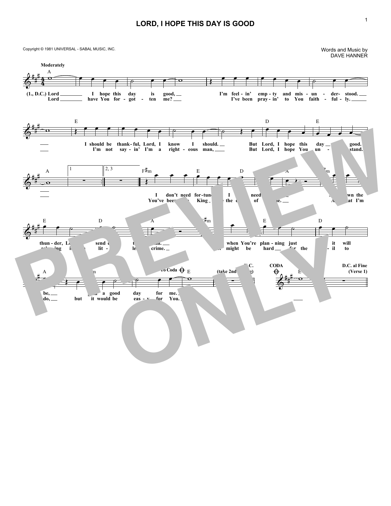 Lord, I Hope This Day Is Good (Lead Sheet / Fake Book)
