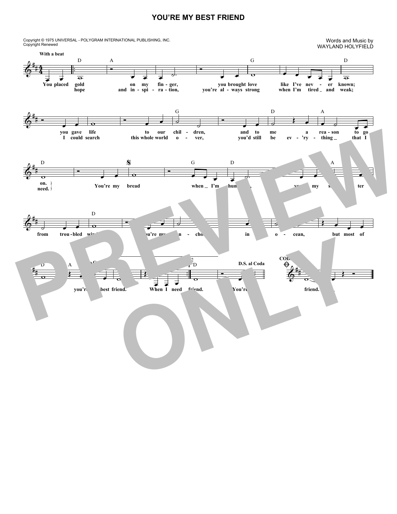 You're My Best Friend (Lead Sheet / Fake Book)
