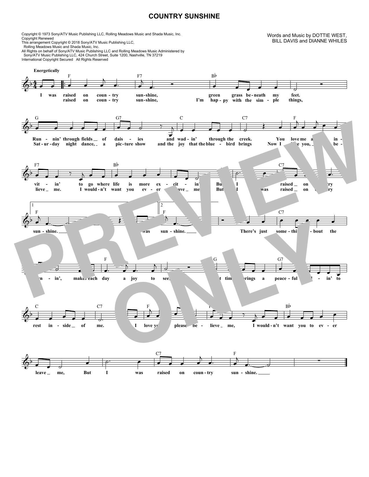 Country Sunshine (Lead Sheet / Fake Book)